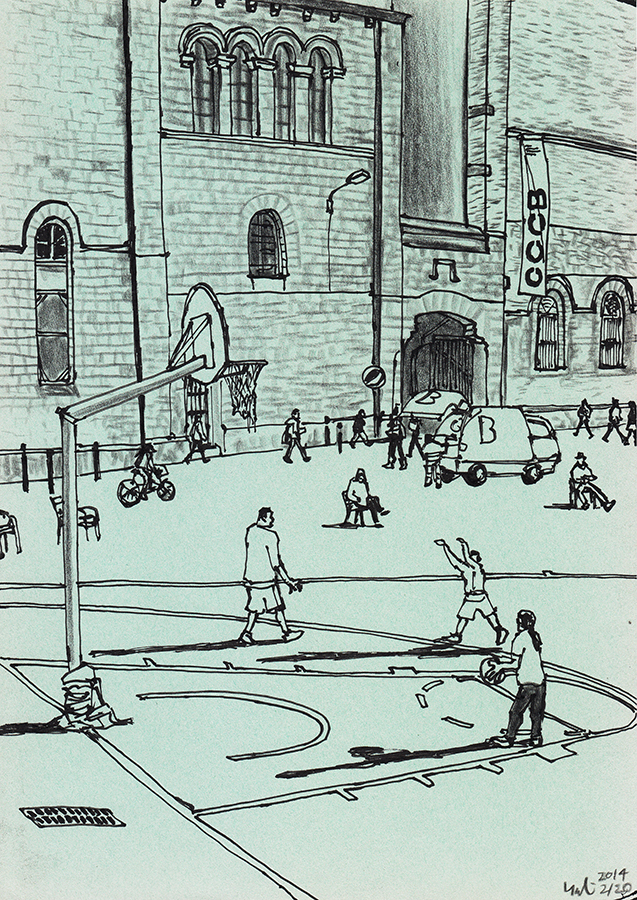 drawing of the people playing basketball on the court behind CCCB in Barcelona Raval