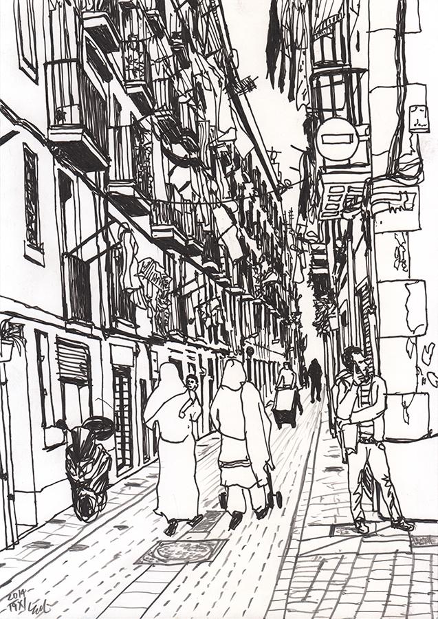 il·lustració de Les dones van amb nen en Carrer de les Carretes a Raval de Barcelona