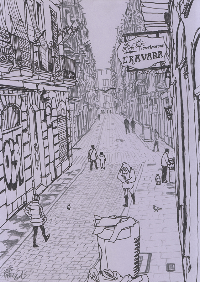 ilustración de Letrero de Restaurante L'Havana en Carrer del Lleó en Raval de Barcelona