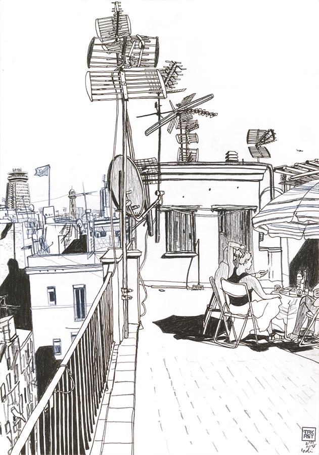 dibujo de Barbacoa en la azotea de Carrer de Joaquín Costa en Raval de Barcelona