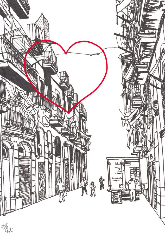 il·lustració de el Cor del Raval en Carrer de Guifré en Barcelona
