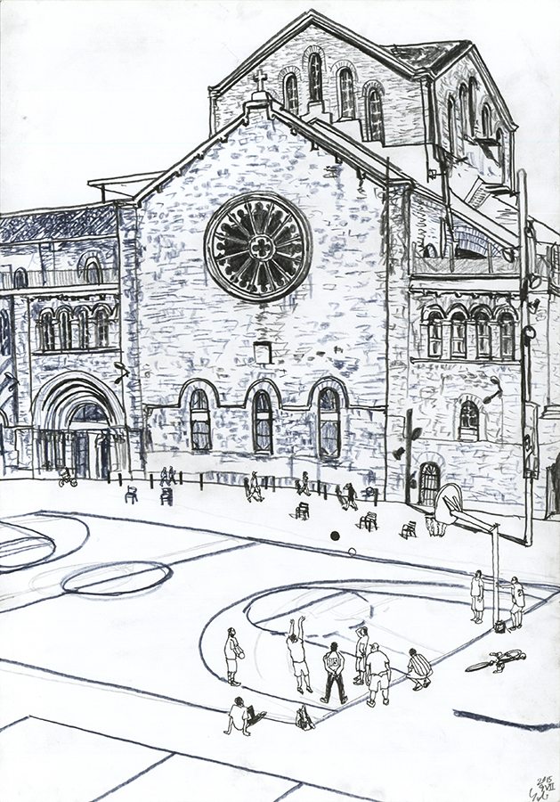 dibujo de la gente jugando baloncesto en la cancha detrás del CCCB en el Raval de Barcelona