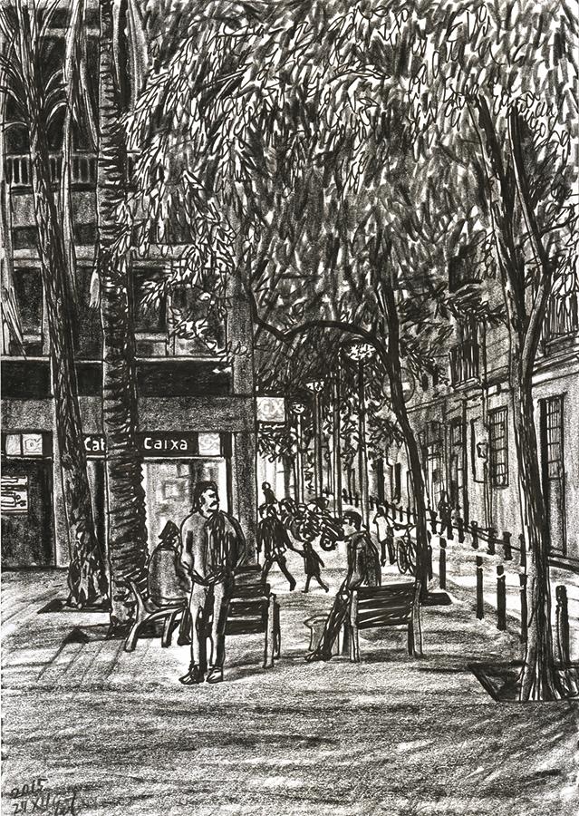 ilustración de Noche en Plaça del Pes de la Palla entre Sant Antoni y Raval de Barcelona