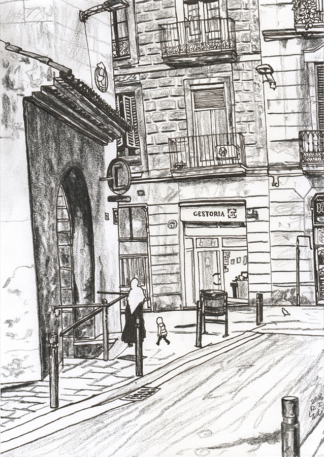 ilustración de La madre y niño llegan a Carrer de Joaquín Costa desde Passatge de Sant Bernat en BCN Raval