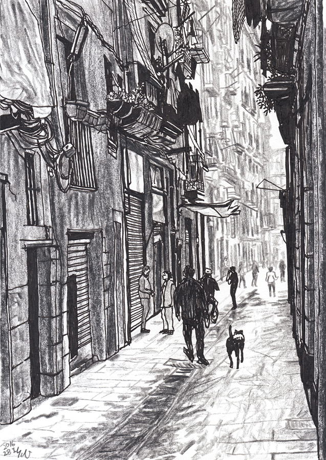dibujo de Hombre y perro van Carrer d'En Robador en Raval de Barcelona