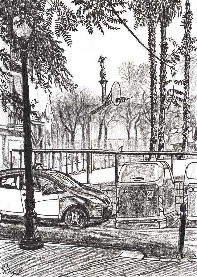 ilustración de Estatua de Colón vista desde la cancha de baloncesto en Parc del Murallot in BCN Raval