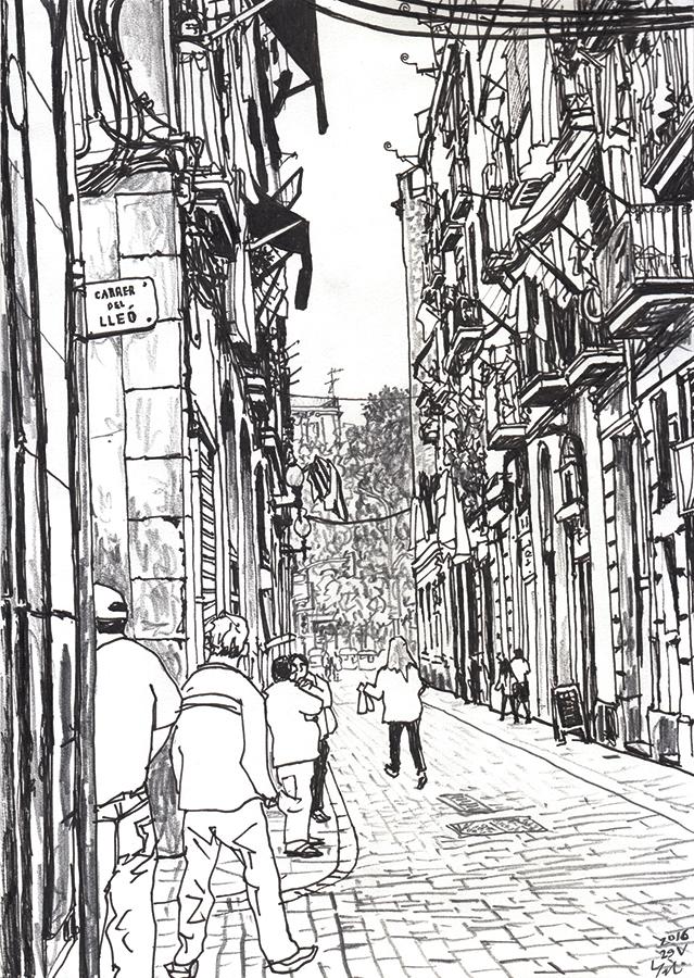 dibujo de La gente en Carrer del Lleó con Carrer del Tigre en Raval de Barcelona
