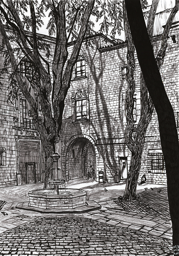 Ilustración de tranquila Plaça de Sant Felip Neri de Barcelona