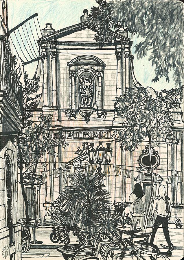 Ilustración de la Iglesia de San Miguel del Puerto en plaza de la Barceloneta