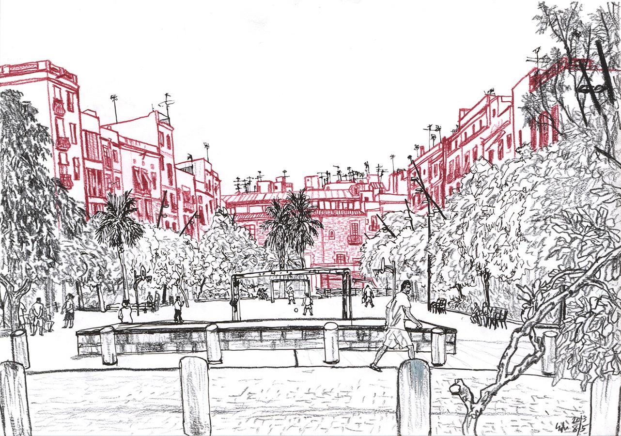 il·lustració de Jardins del Forat de la Vergonya del Casc Antic de Barcelona