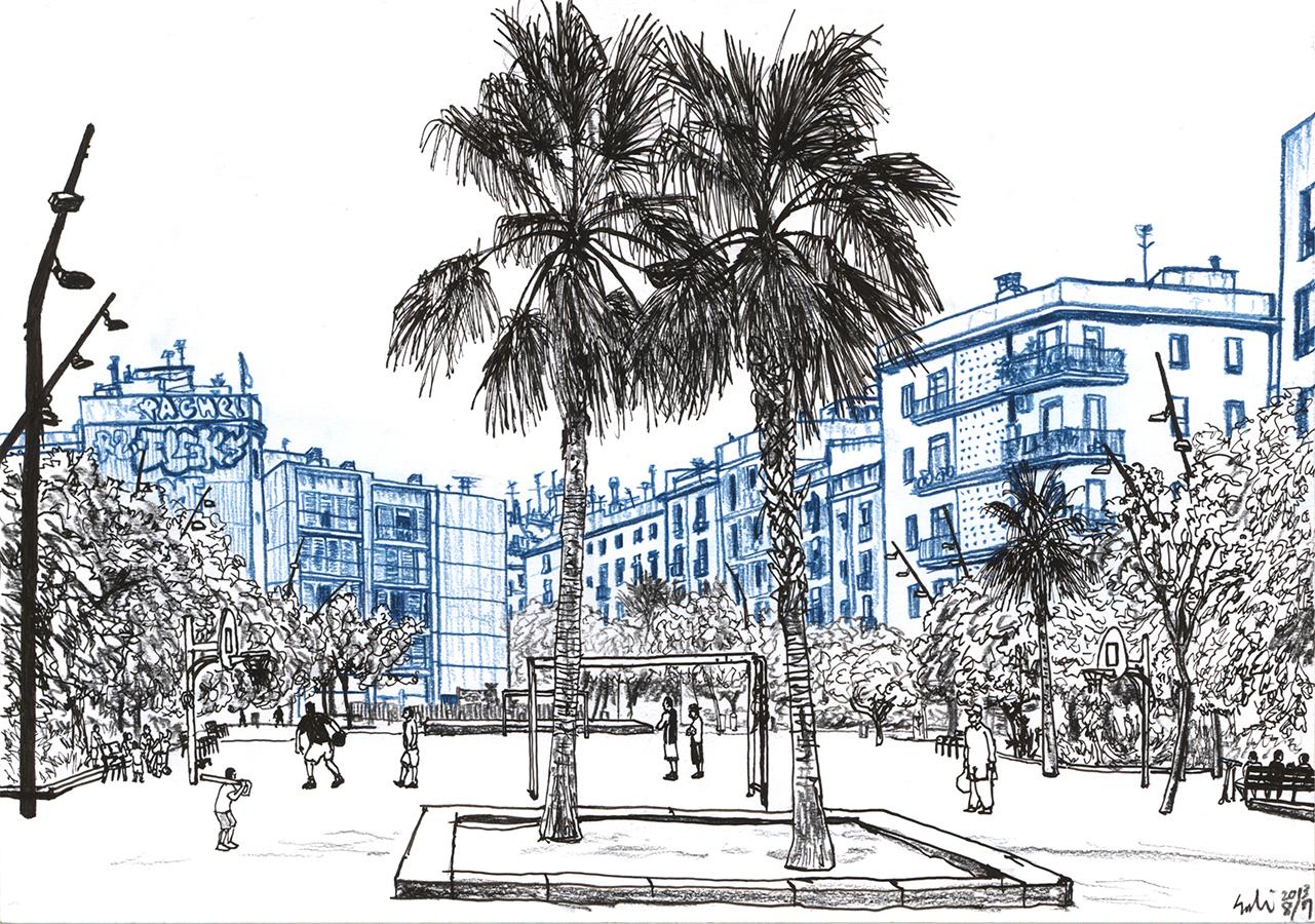 Ilustración de la gente en Jardins del Forat de la Vergonya en Barcelona