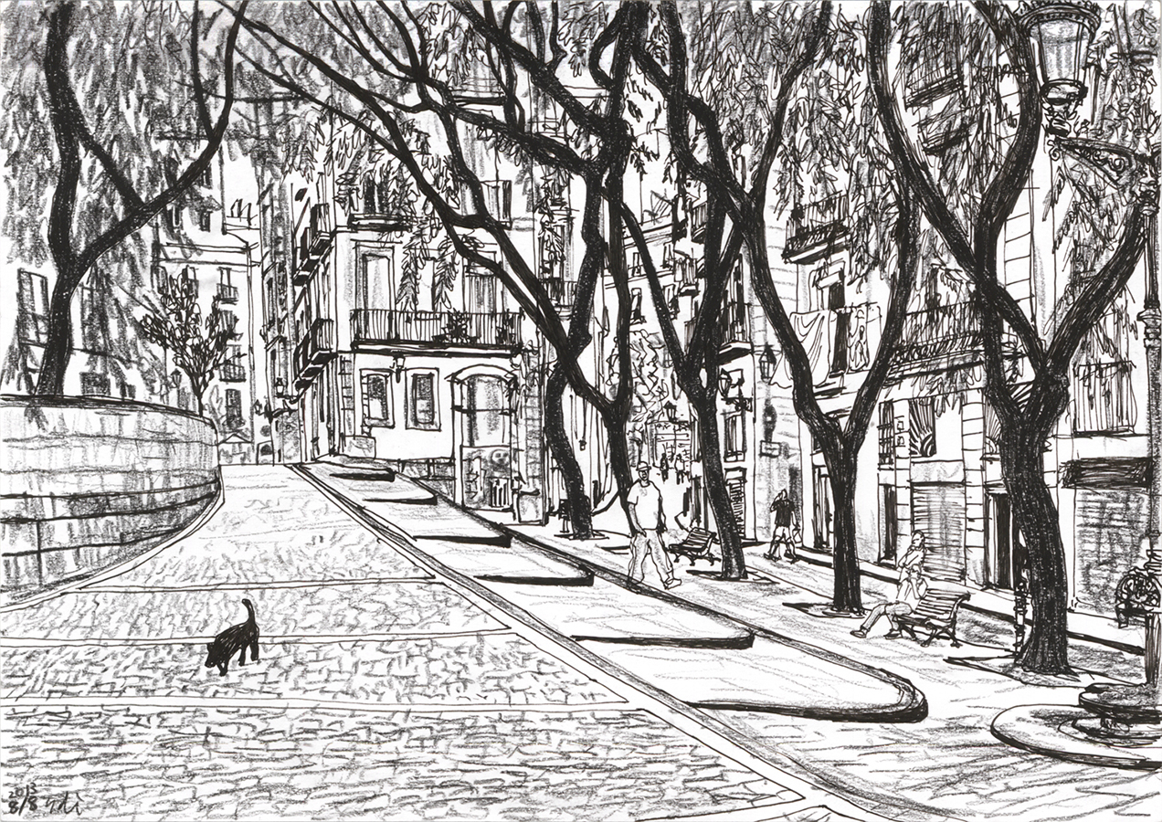 il·lustració de Plaça de Carrer de les Basses de Sant Pere en Barcelona