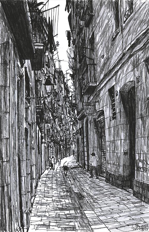 Ilustración de la calle estreche con los balcones de Carrer de Sant Pere Mitjà de Barcelona
