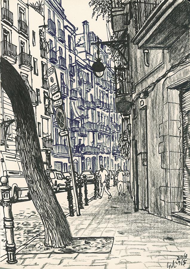 Illustration of Carrer del Portal Nou in Barcelona
