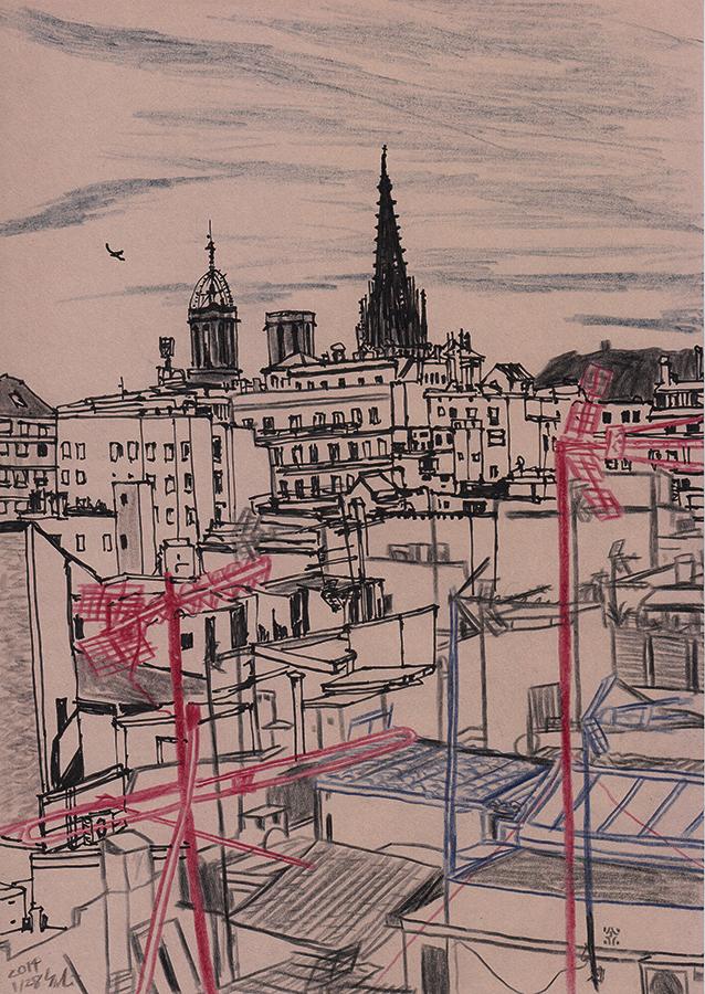 Ilustración del catedral de Barcelona vista desde el tejado del piso en Carrer de Verdaguer i Callís