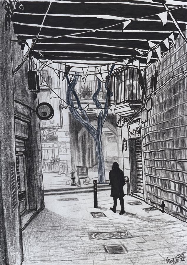 Illustration of Carrer de les Semoleres in gothic neighborhood of Barcelona