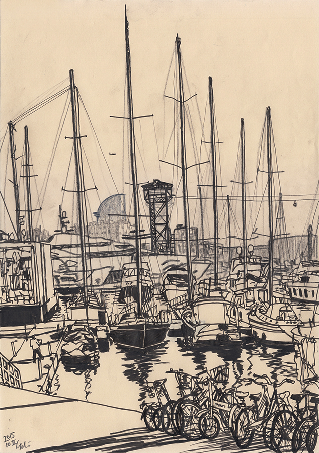 Drawing of Hotel Vela seen from Port Vell of Barcelona among ships and bikes