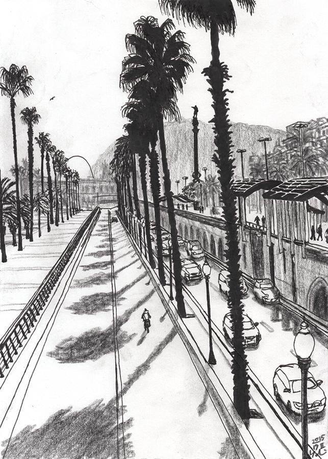 Ilustración de Estatua de Colón de Barcelona vista desde Paseo de Colón