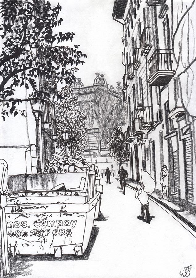 Ilustración de Arc de Triomf vista desde Carrer del Rec Comtal en Barcelona
