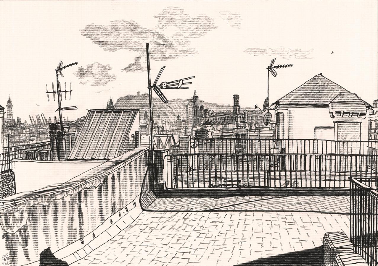 La vista de Montjuic, puerto, Basílica de Santa Maria del Mar vista desde el tejado de Passeig de Picasso