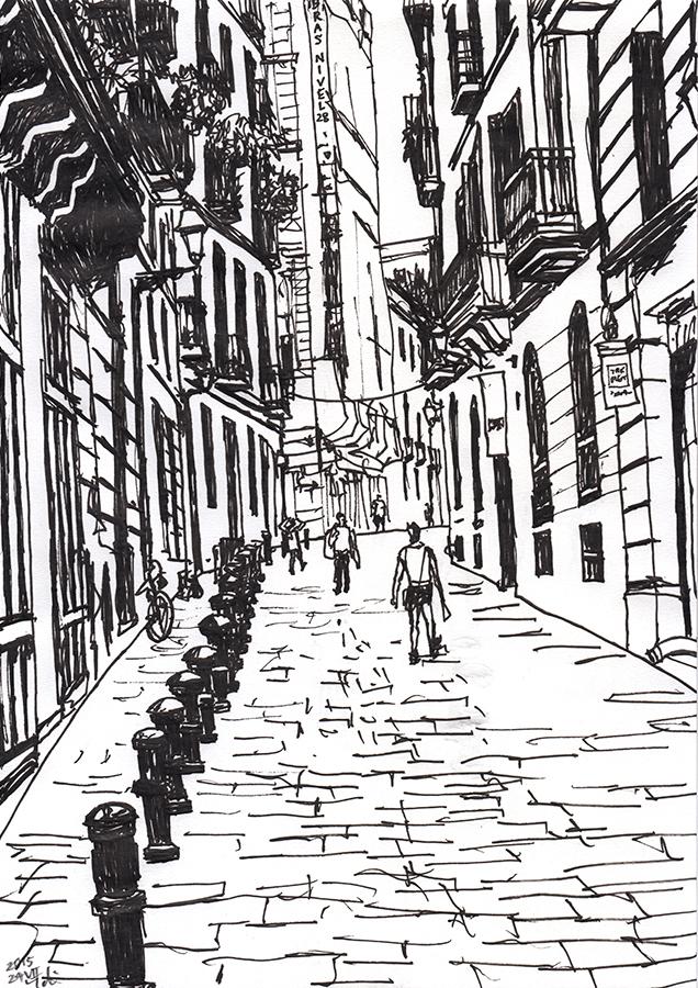 Illustration of Carrer del Palau in Gothic Quarter in Barcelona