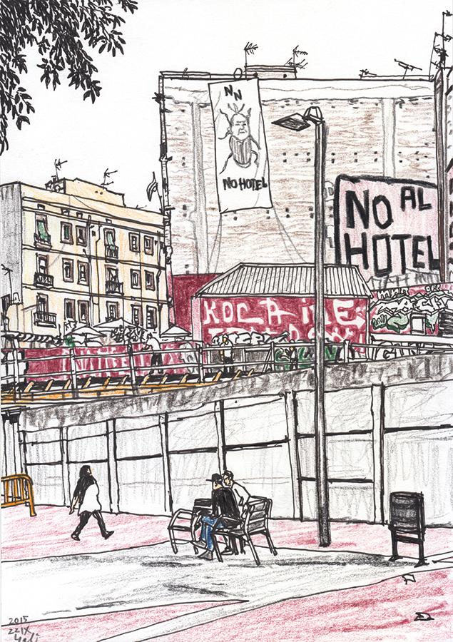 Drawing of a hotel under construction at Carrer del Rec Comtal in Barcelona