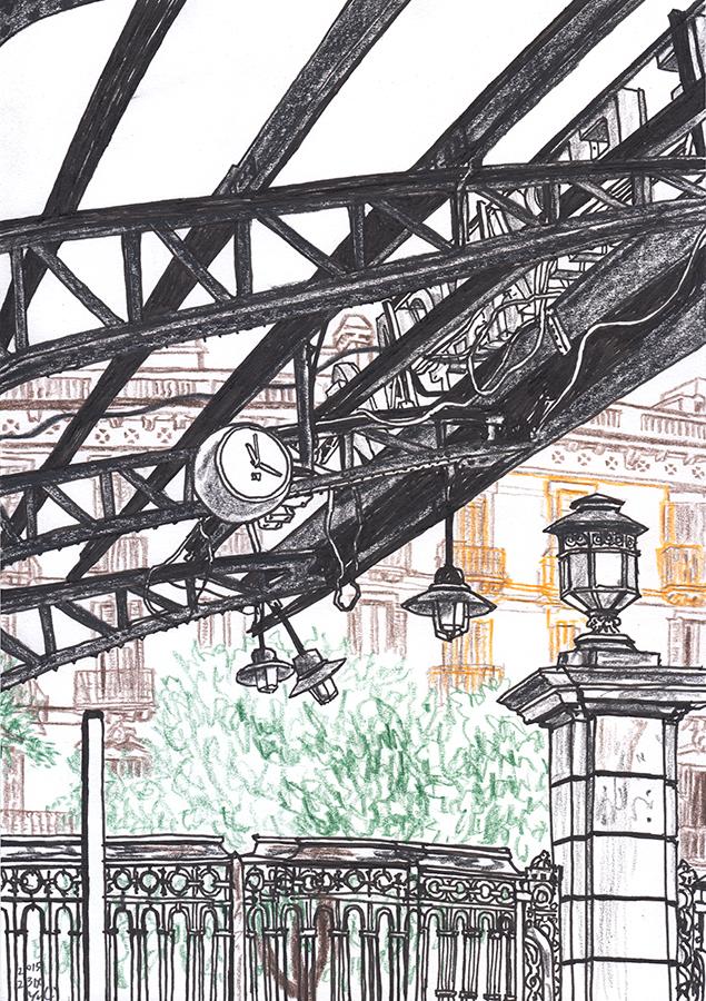 Ilustración de exterior de la Estación de Francia en Barcelona