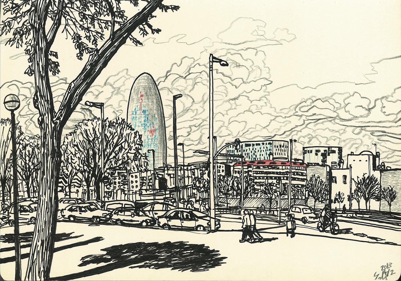 Ilustración de Torre Agbar con las nubes desde Avenida Meridiana en Barcelona