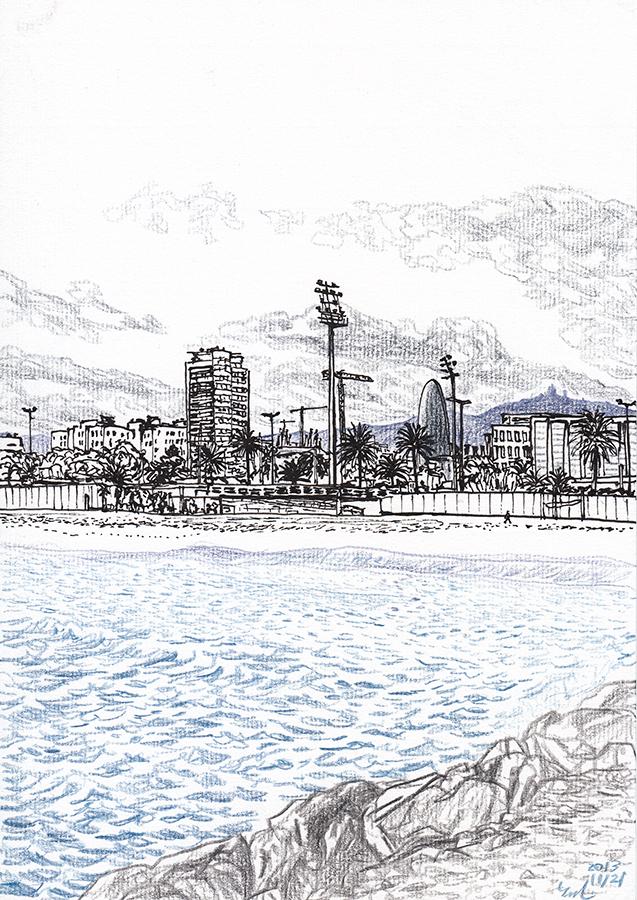 Dibujo de Torre Agbar con las nubes desde la playa de Poblenou en Barcelona