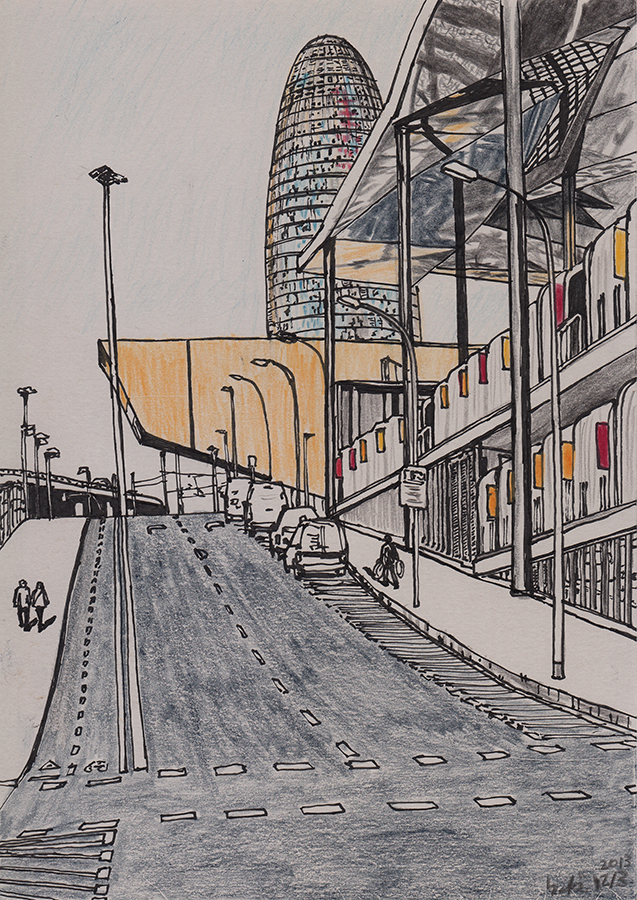 Illustration of Torre Agbar and Glories Market in Barcelona