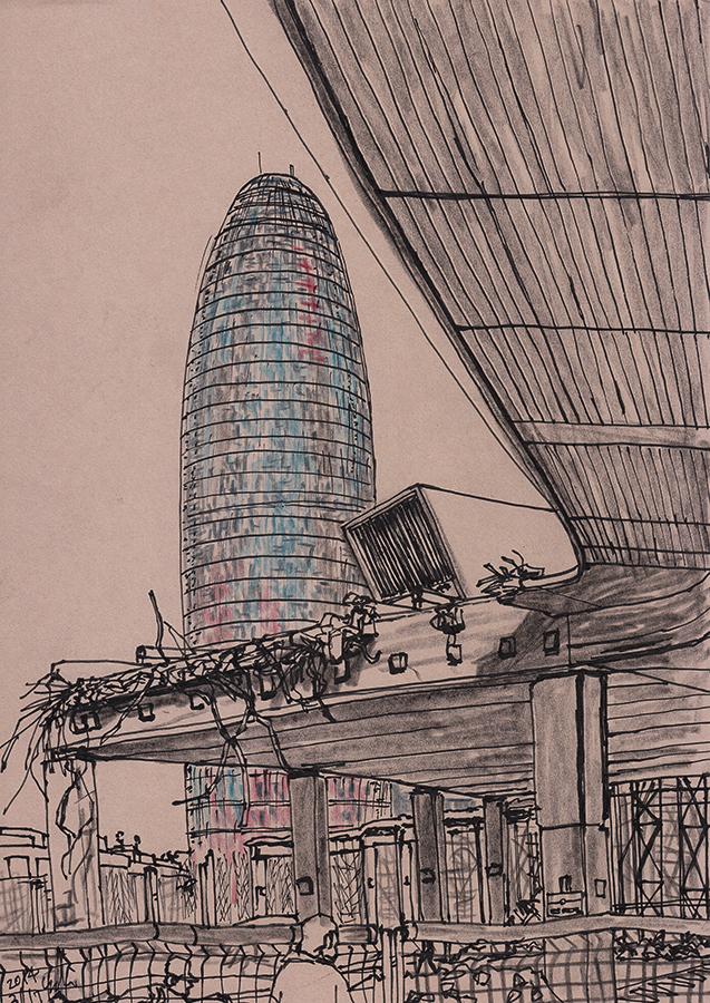Ilustración de Torre Agbar y Disseny Hub Barcelonacon con la demolición de la calle elevada