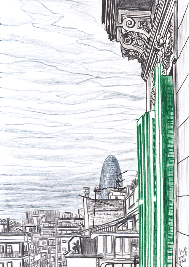 Drawing of Torre Agbar from the balcony of my room in Clot Barcelona