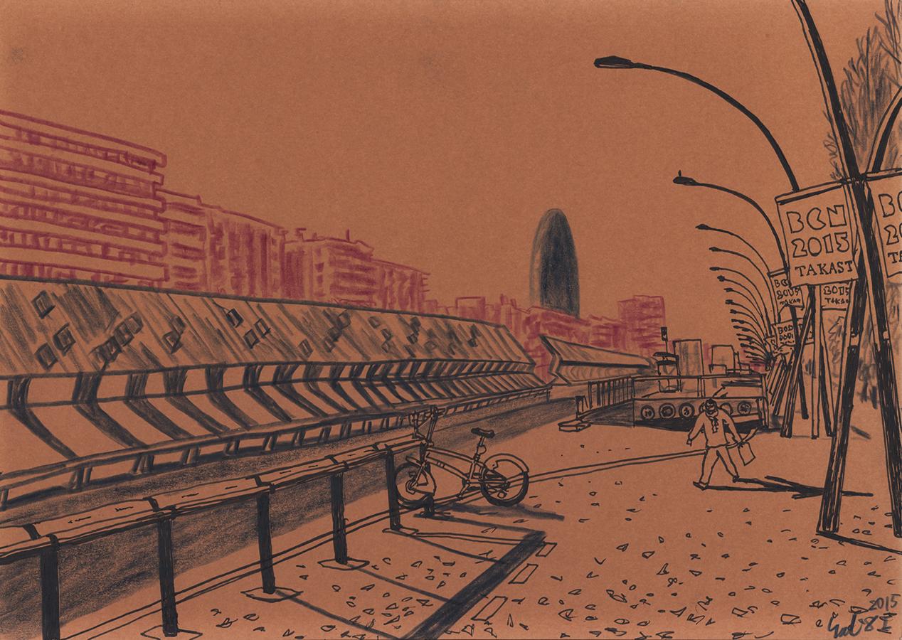 Ilustración de Torre Agbar desde Gran Via de les Corts Catalanes en Barcelona