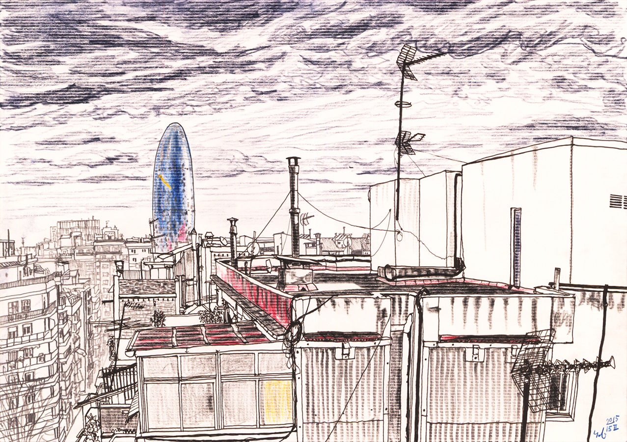 Torre Agbar desde azotea de casa en Clot