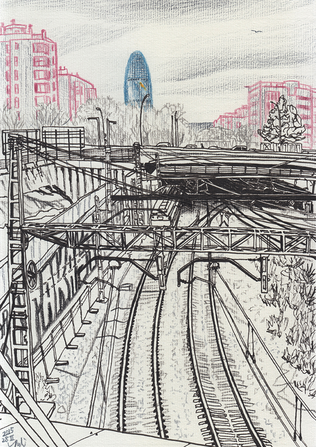Illustration of Torre Agbar seen from railway entering Barcelona