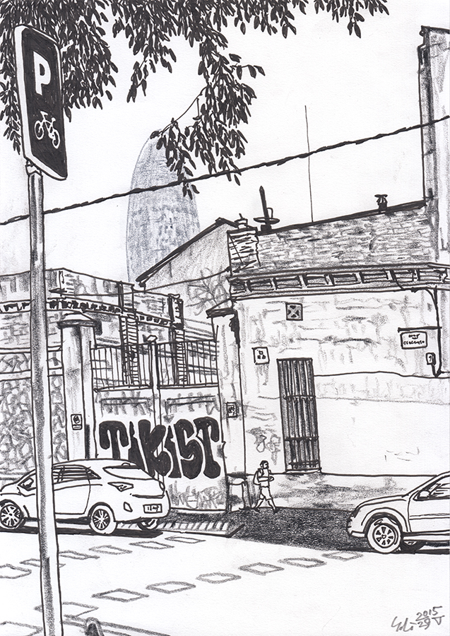 Illustration of Torre Glòries seen from Carrer del Consell de Cent with graffiti in Barcelona