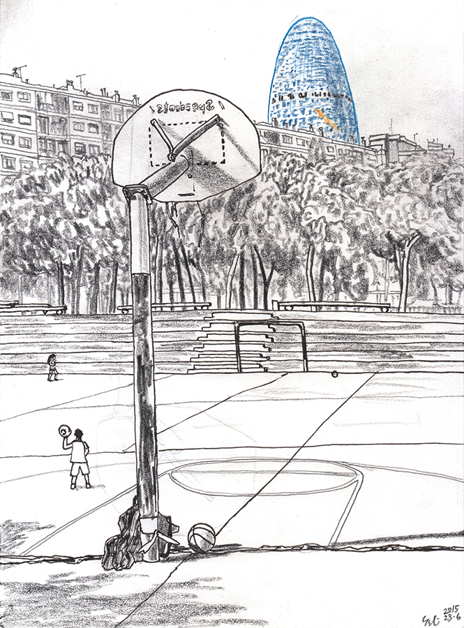 Drawing of Torre Glòries seen from basketball court in Parc de Clot Barcelona