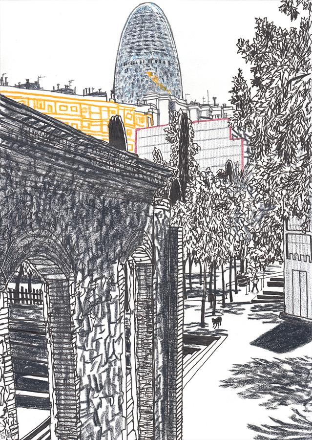 Ilustración de Torre Glòries desde Parc de Clot con un perro en Barcelona