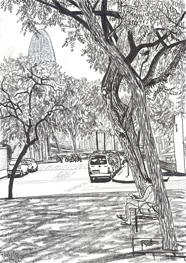 Ilustración de Torre Glòries desde barrio de Clot con un hombre leyendo en la sombra en Barcelona