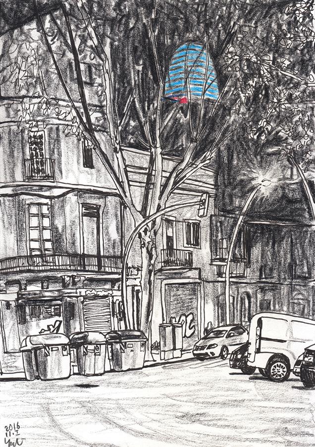 Dibujo de Torre Agbar iluminada en azul por la noche desde Poblenou en Barcelona