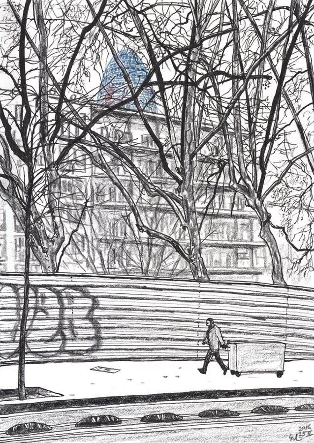 Dibujo de Torre Agbar con arboles de invierno desde Poblenou en Barcelona