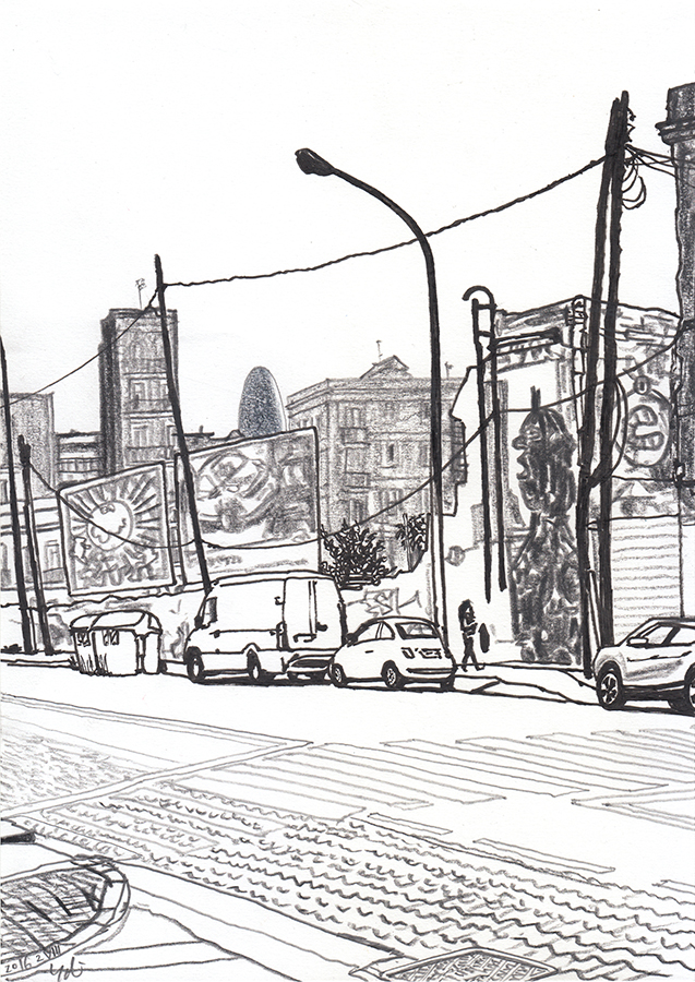 Drawing of Torre Agbar seen from Carrer de Pere IV in Poblenou district in Barcelona