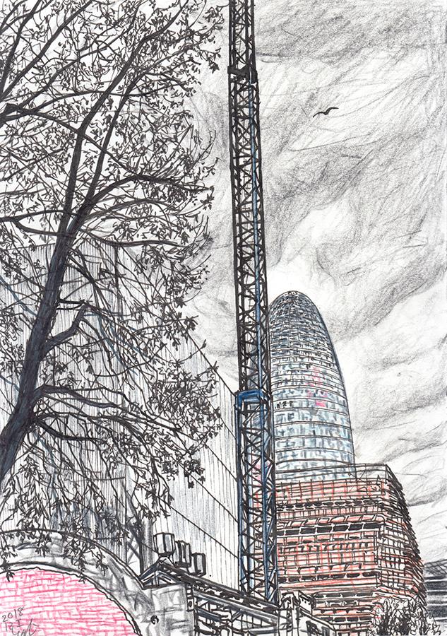 バルセロナのアグバルタワーと曇り空とクレーンのイラスト