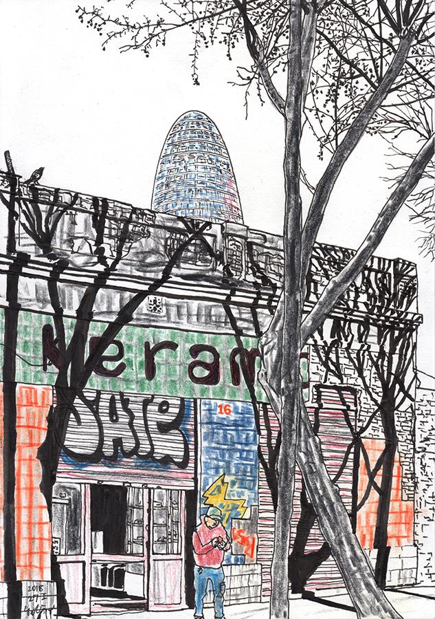 建物に影を落とす木とバルセロナのトーレ・アグバールのイラスト