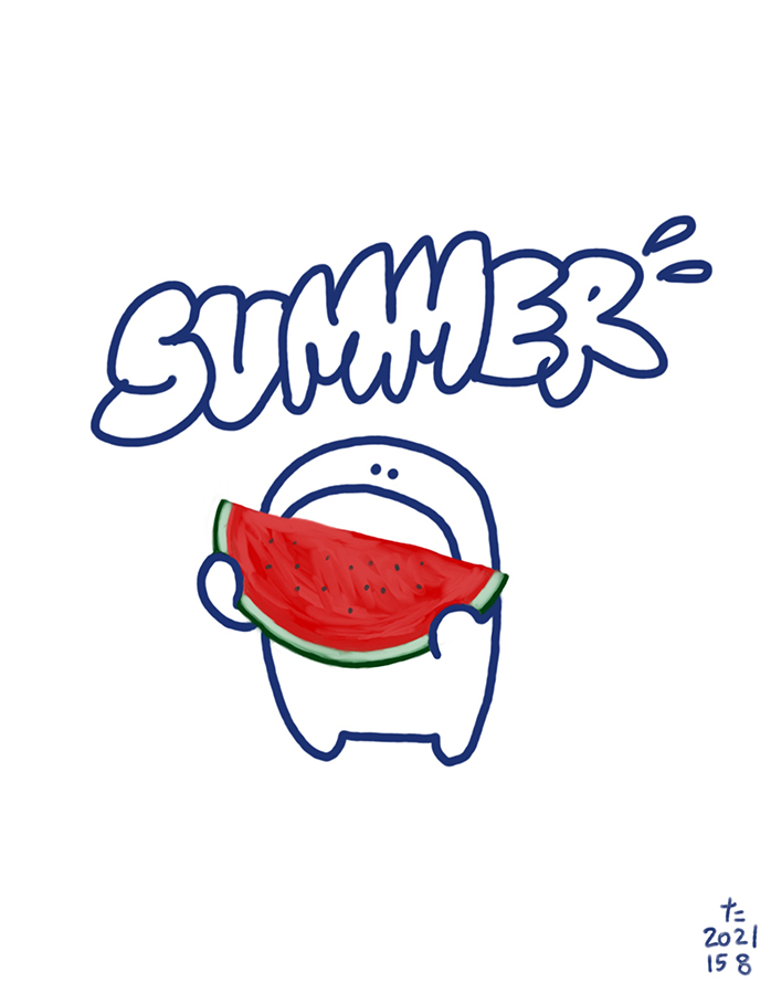 illustration of a kid eating watermelon in summer