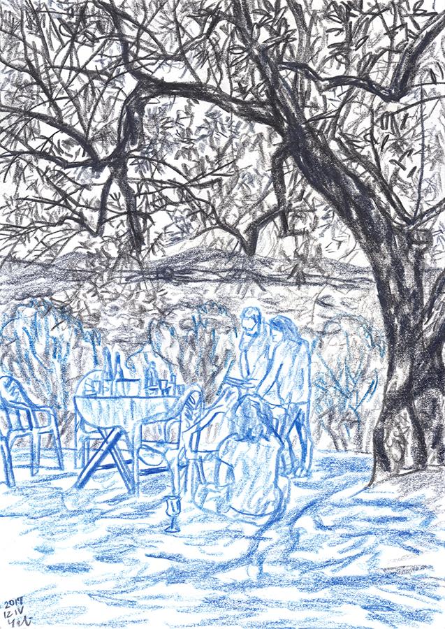 Dibujo de Silvio Díaz y Paula Serra en la colina de Andalucía