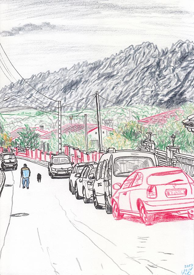 Ilustración de calle de Can Parellada Masquefa con Montserrat a la vista