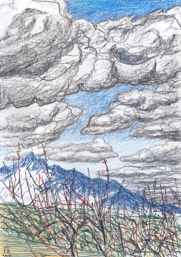 Dibujo de Montserrat con las nubes