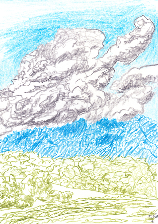drawing of Montserrat with clouds