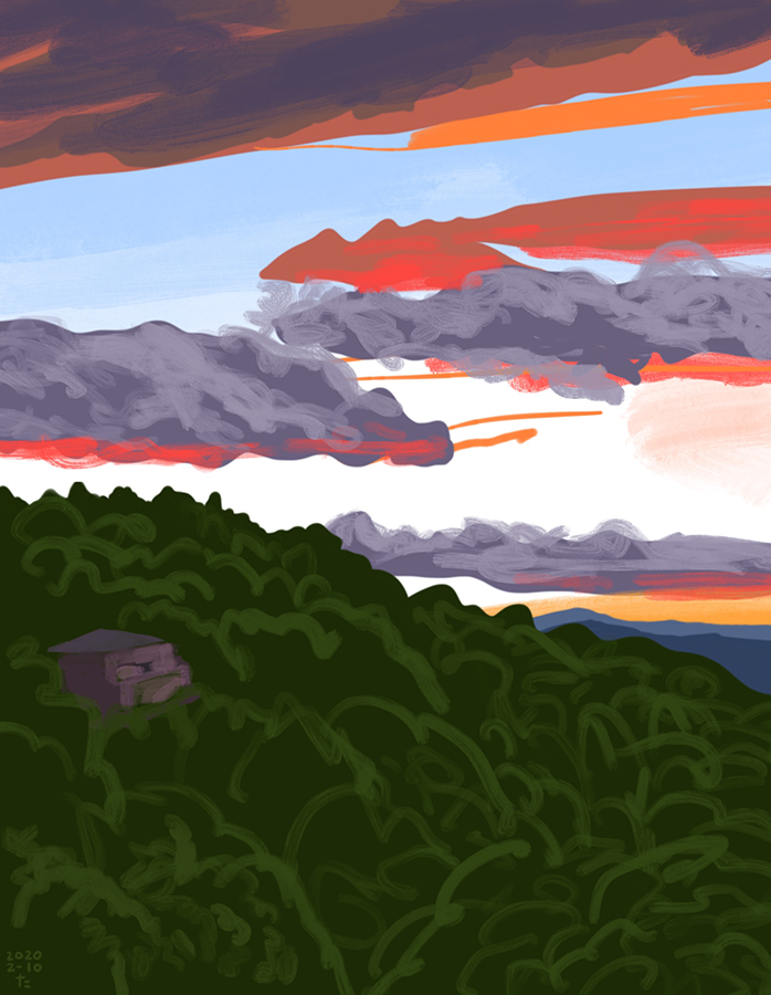 Drawing of sunset with purple cloud in mountain